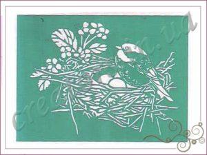 трафарет птица к гнезде
