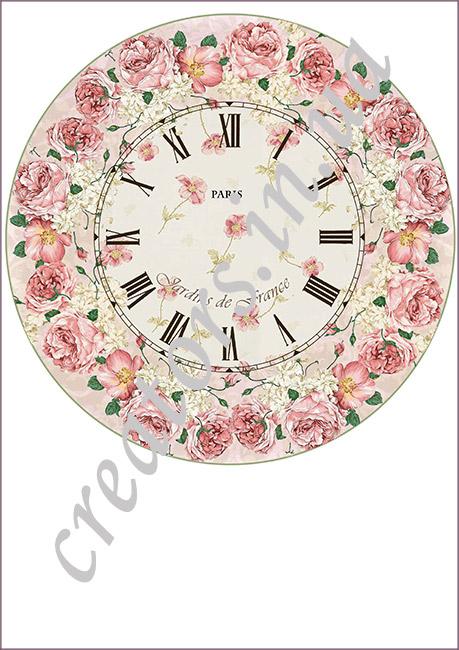 декупажная карта часы Венок из роз