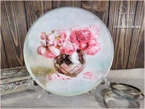 панно круглое вазон цветов