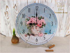 часы шебби розы декупаж