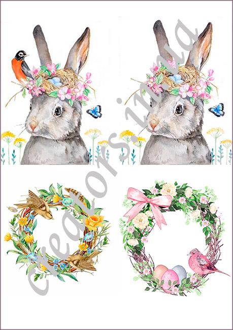 декупажная карта пасхальные зайцы