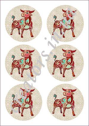 декупажная карта бык