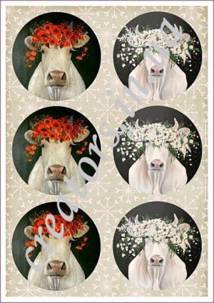декупажная карта корова с цветами
