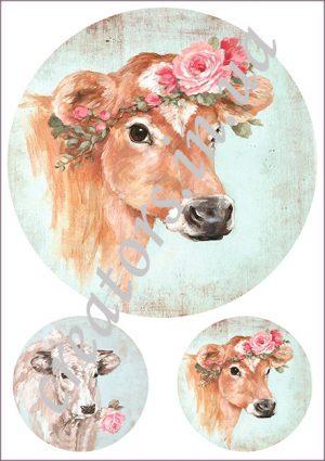 декупажная карта корова с венком