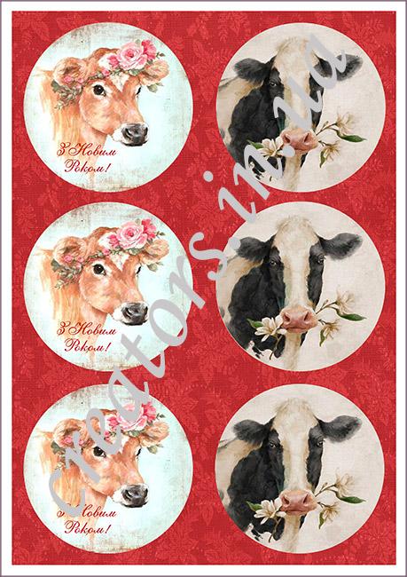 декупажная карта корова с цветком