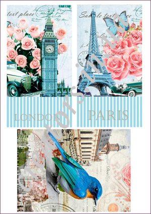 декупажная карта лондон париж