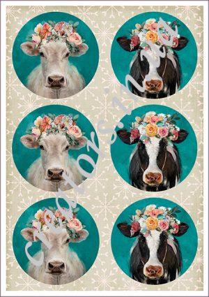 декупажные карты корова с венком