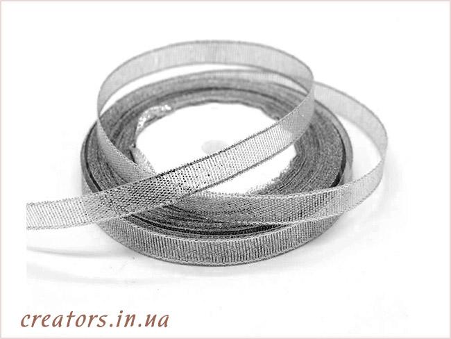 лента парча серебро
